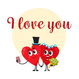 I love you - greeting card design with heart characters having wedding