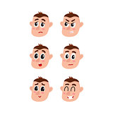 Face expressions set - upset, angry, surprised, doubtful, shy, happy