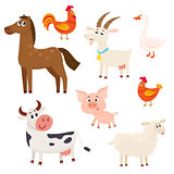 Farm animals - cow, sheep, horse, pig, goat, rooster, hen, goose