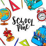 Square frame, banner with school items, round place for text