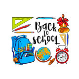 Square frame of school items, backpack with place for text