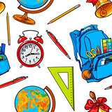 Seamless pattern with school items, backpack, globe, bell, clock
