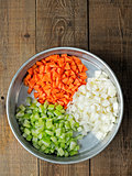 rustic diced carrot onion and celery