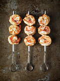 rustic grilled shrimp skewer