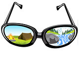 Spectacles and reflection of the nature