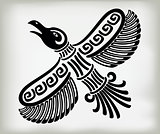 Decorative stylized bird crows in the ethnic style of ancient American Indians with national patterns. EPS10 vector illustration