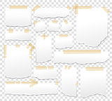 White paper sheets with scotch tape set. Sticky papers with adhesive sellotape stripes vector illustration. Sheet page for reminder message