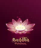 Buddha Purnima Vesak day lettring text greeting card. Lotus flower and burning candle