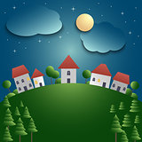 Night landscape with village and meadow background
