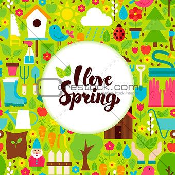 Flat I Love Spring Greeting