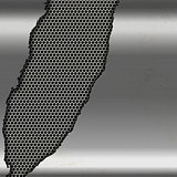 Metallic silver background with cutout on perforated metal