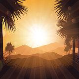 Tropical landscape at sunset