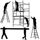 Silhouette worker climbing the ladder. Vector illustration