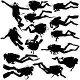 Set black silhouette scuba divers. Vector illustration