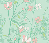Seamless Pattern with Watercolor Flowers, Branches, Plants