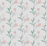 Vector Seamless Pattern with Drawn Flowers, Branches, Plants