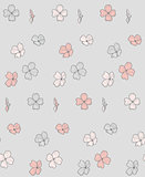 Vector Seamless Pattern with Drawn Flowers, Blossom