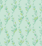 Vector Seamless Pattern with Drawn Branches, Plants