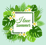 Summer frame with green leaves