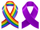 Symbols of LGBT rainbow Pride loop ribbon