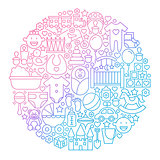 Baby Line Icon Circle Design