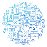 Banking Line Icon Circle Design