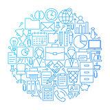 Business Line Icon Circle Design