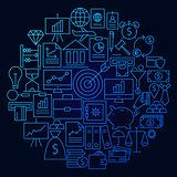 Finance Line Icon Circle Concept