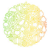 Fruit Vegetable Line Icons Circle