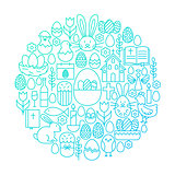 Easter Line Icon Circle Design