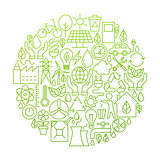 Ecology Line Icon Circle Design