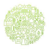 Ecology Line Icon Circle Design