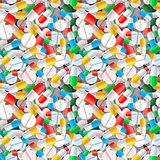 Bright different pills and capsules, seamless pattern