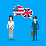 People with white speech bubbles with American and Great britain flags. English language conceptual illustration