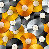 Golden, platinum and bronze albums, vinyl discs seamless pattern