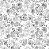 Black swirls on white background, abstract seamless pattern