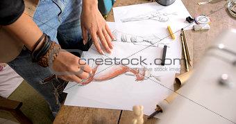 Crop shot of female drawing sketch