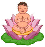 Newborn buddha sits in lotus flower