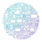 Gadget Line Icon Circle Design