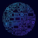 Gadget Line Icon Concept Circle