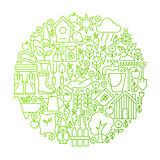 Garden Line Icon Circle Design