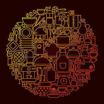 Kitchen Line Icon Concept Circle
