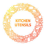Kitchen Line Icon Circle Concept