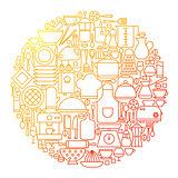 Kitchen Line Icon Circle Design