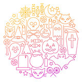 Halloween Line Icon Circle Design