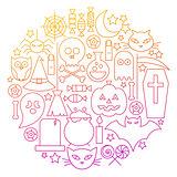 Halloween Line Icon Circle Design