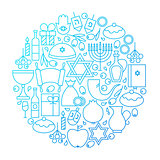 Hanukkah Line Icon Circle Design