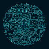 Insurance Line Icon Circle Concept