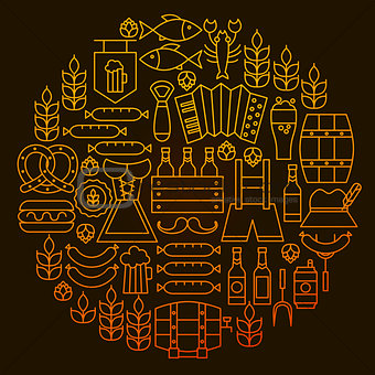 Oktoberfest Line Icon Circle Concept