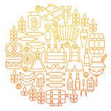 Oktoberfest Line Icon Circle Design